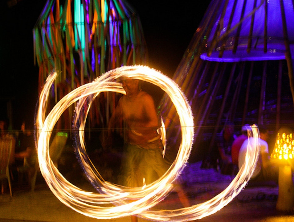 Fire show on the island of Tonsai Khlong Thom  Thailand