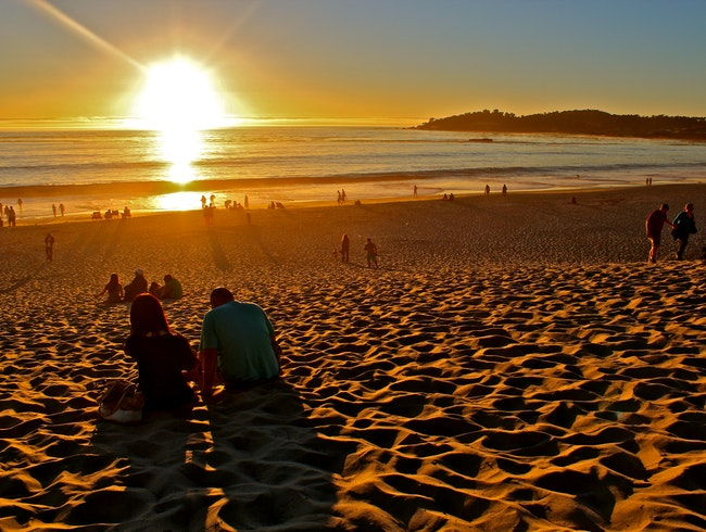 A white sand sunset in Carmel, CA