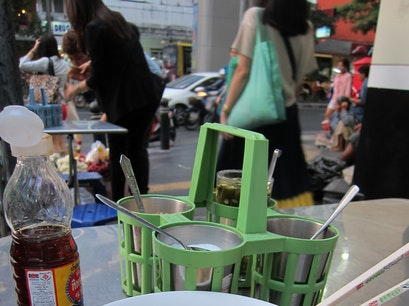 Soup cart at the corner of Silom & Convent Roads Bangkok  Thailand