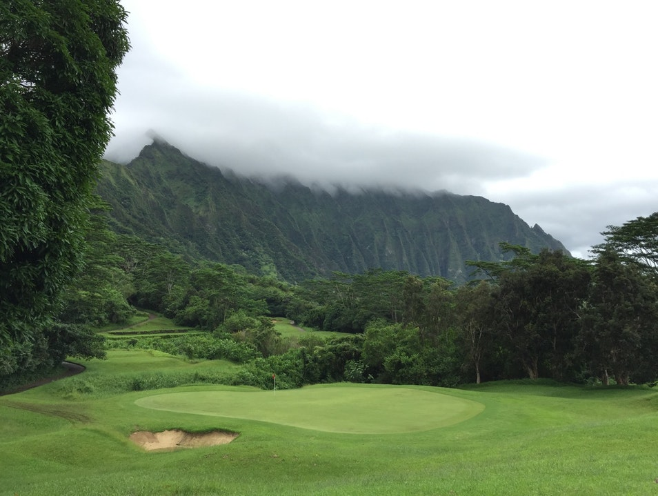 Golf next to the mountains in Jurassic Park Waimea Hawaii United States