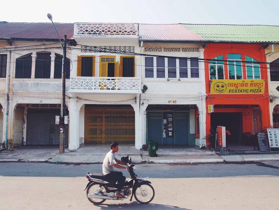 Chinese shop houses and colonial architecture Krong Kampot  Cambodia