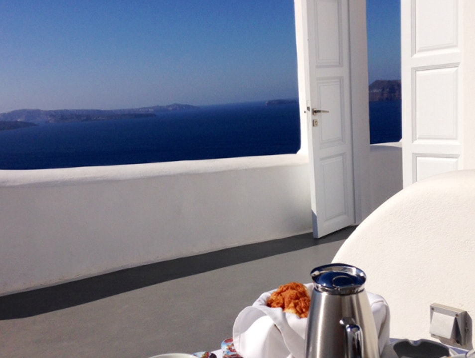 Breakfast with a view Oia  Greece