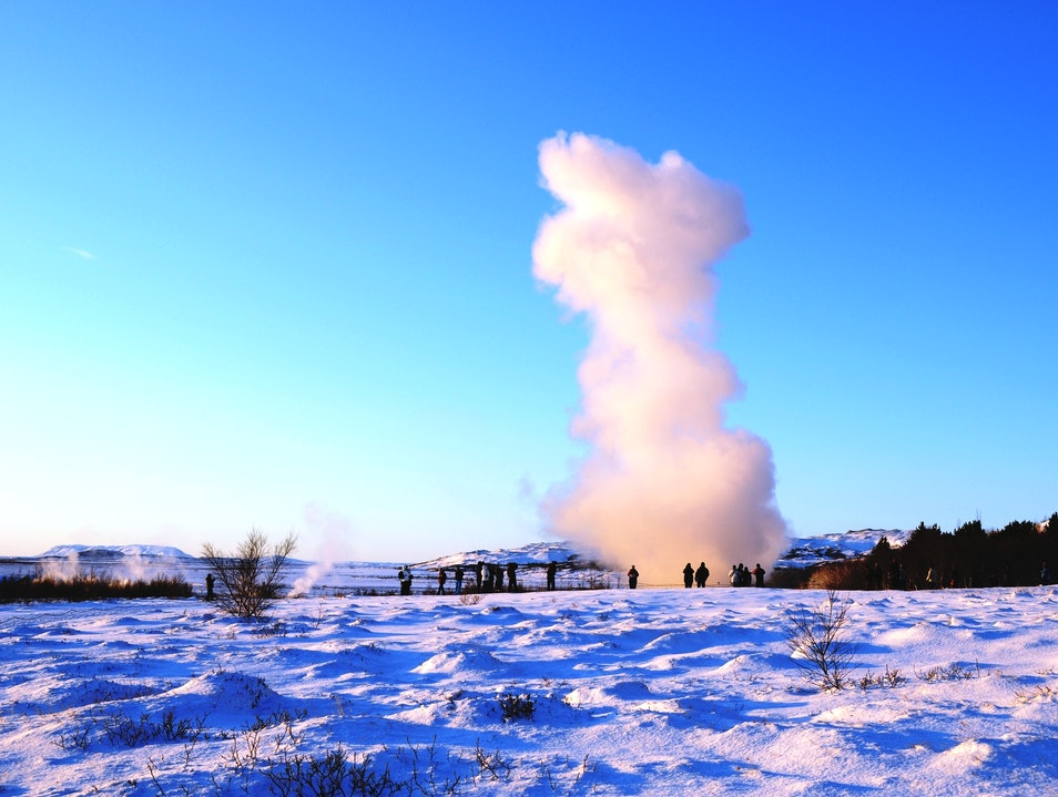 A Geyser in Geysir South  Iceland