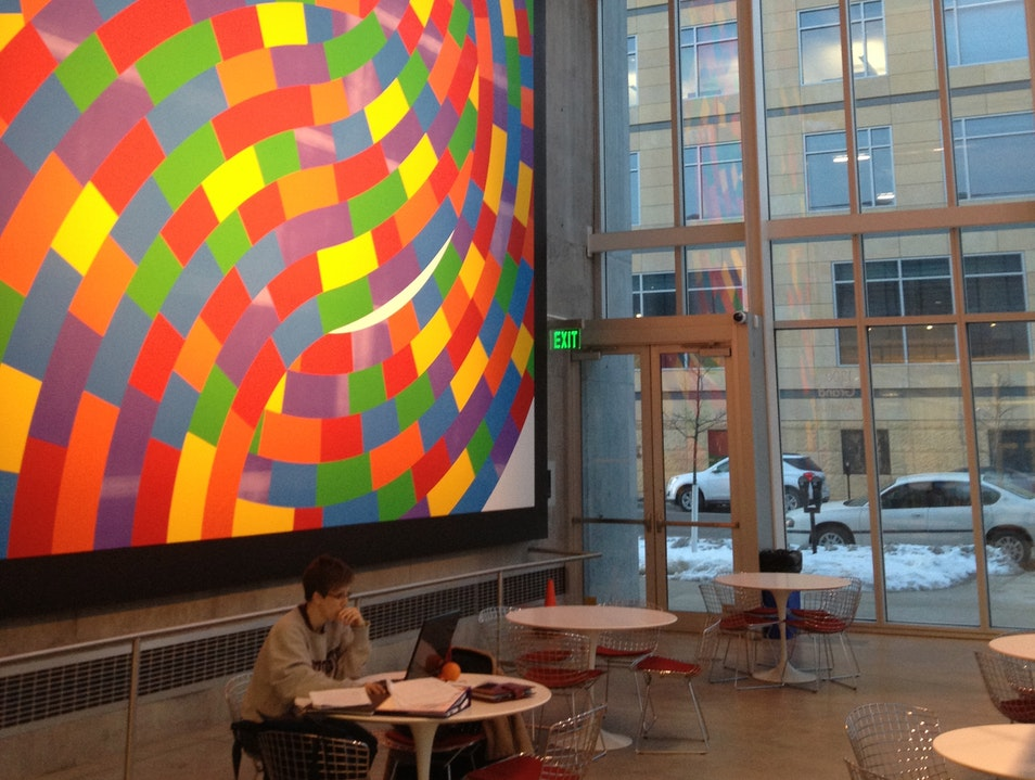 Sol LeWitt's swirl-whirl mural Des Moines Iowa United States