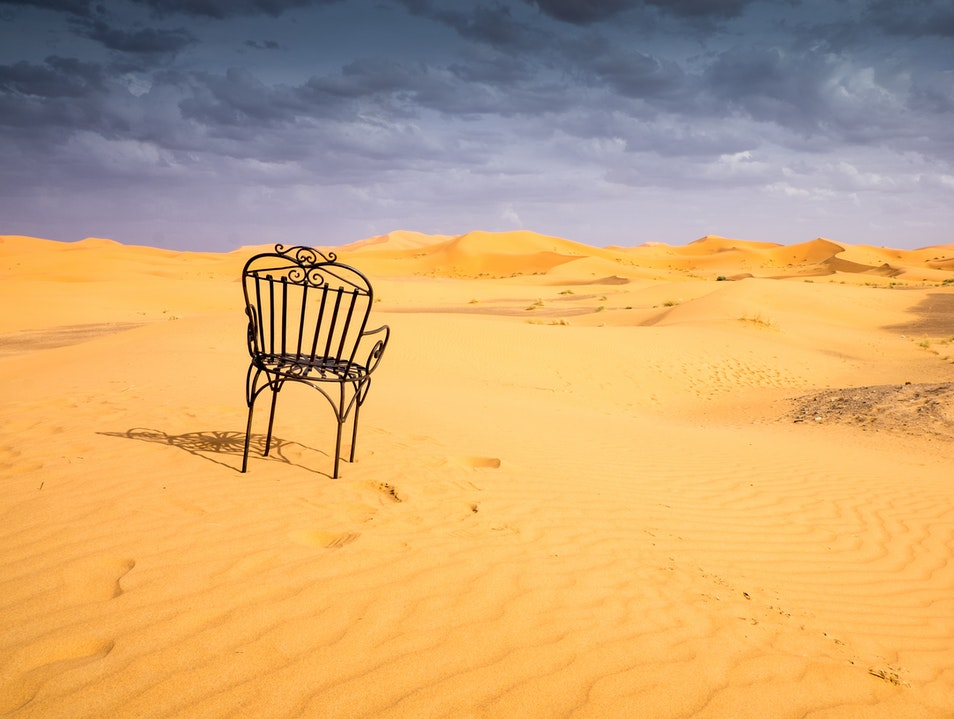 A Moment of Quiet Reflection in the Sahara Desert