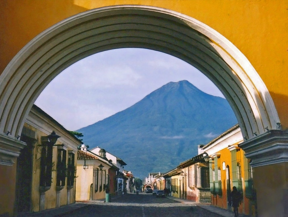 through the quiet arch Antigua Guatemala  Guatemala