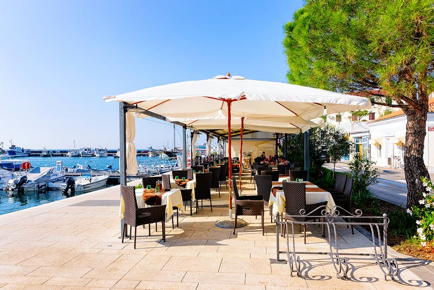 Dine in view of the sea in the charming beach town of Izola.