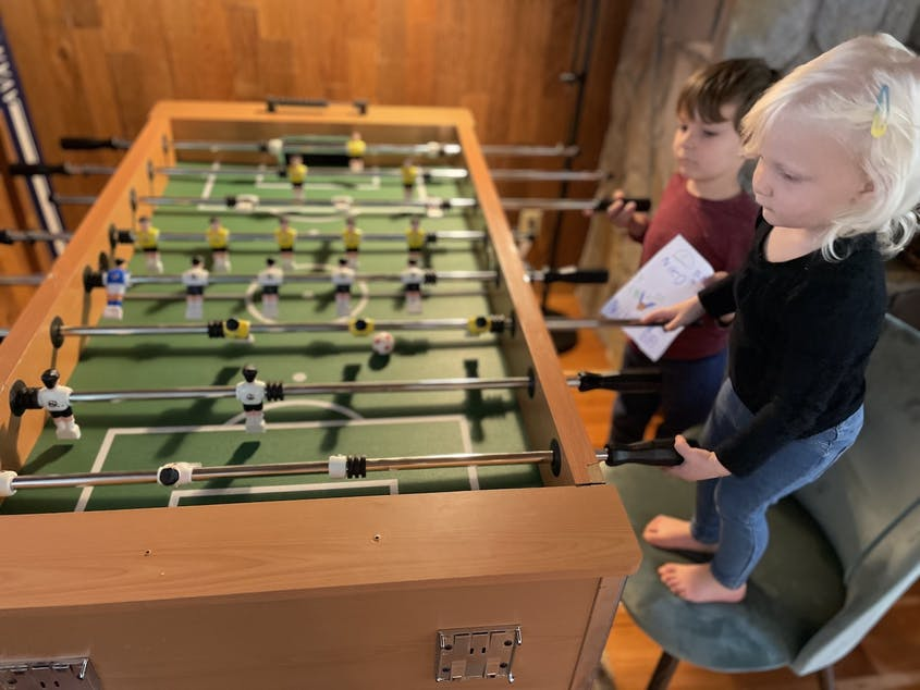 On a recent stay in Tahoe, the foosball table was a big hit with the younger house guests.
