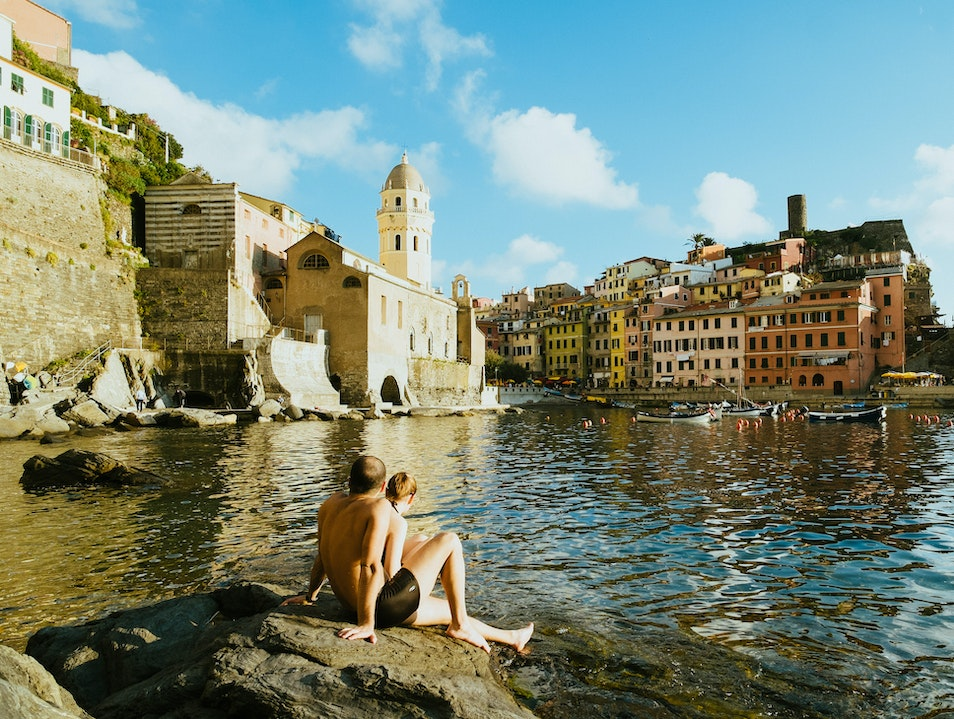Sunbathing in Vernazza Vernazza  Italy