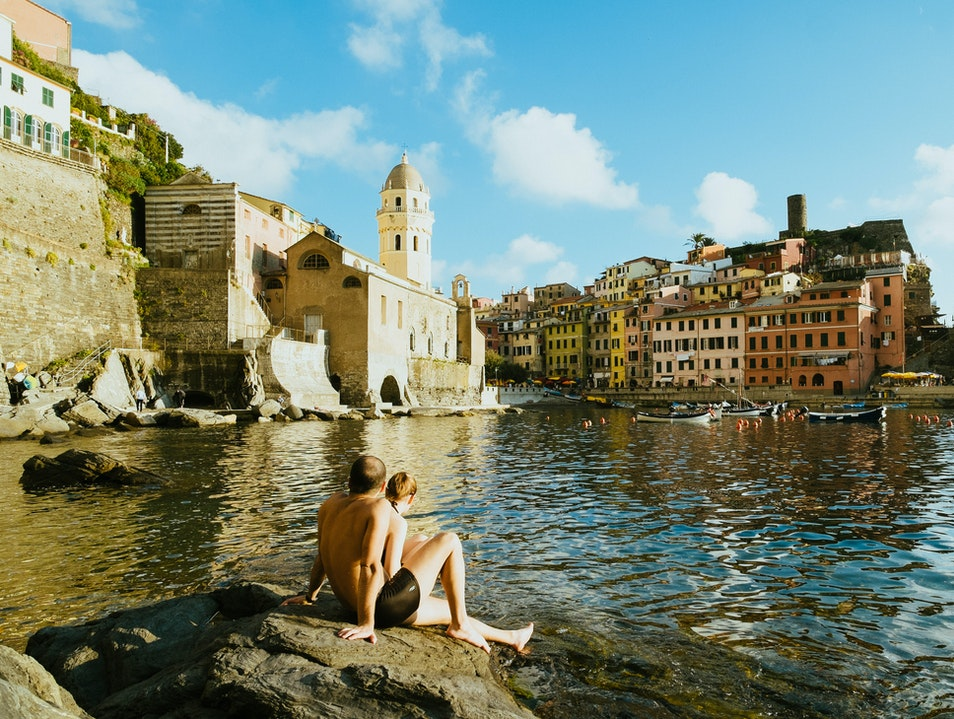 Sunbathing in Vernazza
