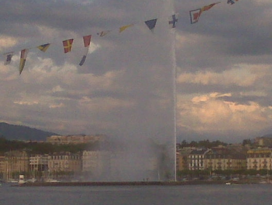 Fountain in the Lake Geneva  Switzerland