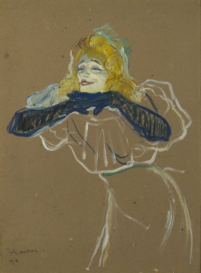 "Toulouse-Lautrec's 1894 depiction of cabaret singer Yvette Guilbert, titled ""Linger, Longer, Loo,"" is one of approximately 200 paintings, posters, and lithographs by the artist on display at the Grand Palais retrospective."