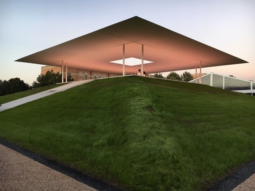 """James Turrell is known for his large-scale installations focusing on light and color, like """"Twilight Epiphany."""""""