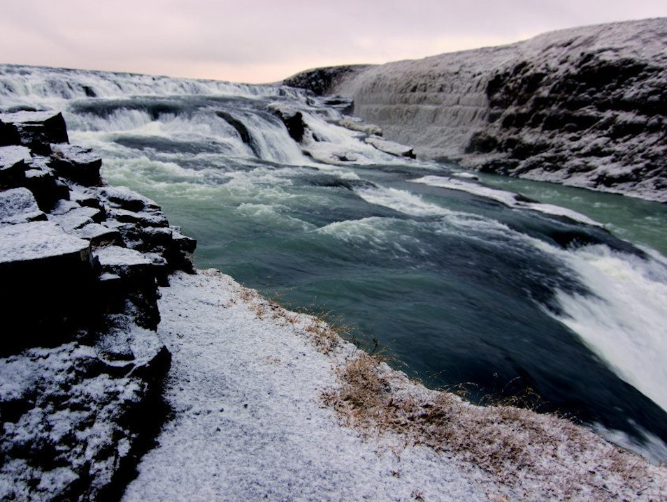 "Snow in Gullfoss ""Golden Falls"" South  Iceland"