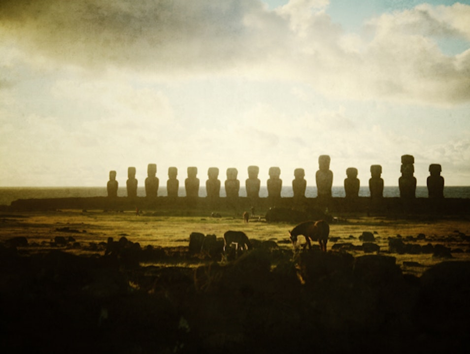 Sunrise with the Moai of Easter Island Isla de Pascua  Chile