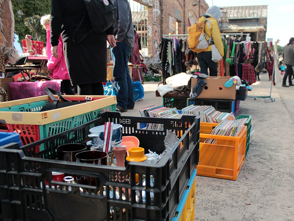 Sunday Market in Abandoned Parking Lot Berlin  Germany