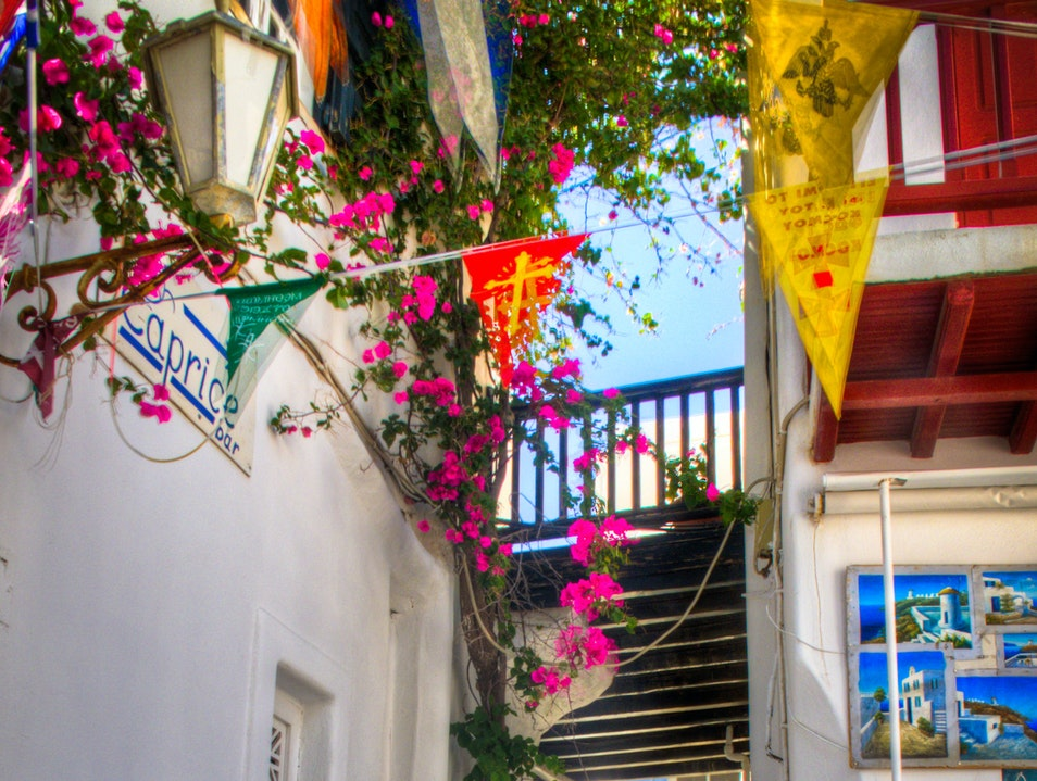 Romantic streets in Mikonos, Greece
