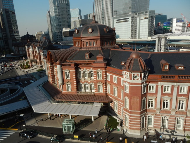 View from Kitte building overlooking Tokyo Station.