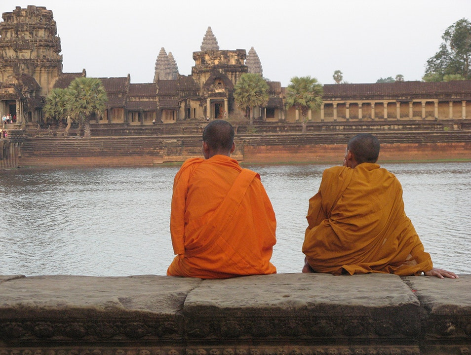 Meditating or contemplating at Angkor Wat Siem Reap  Cambodia
