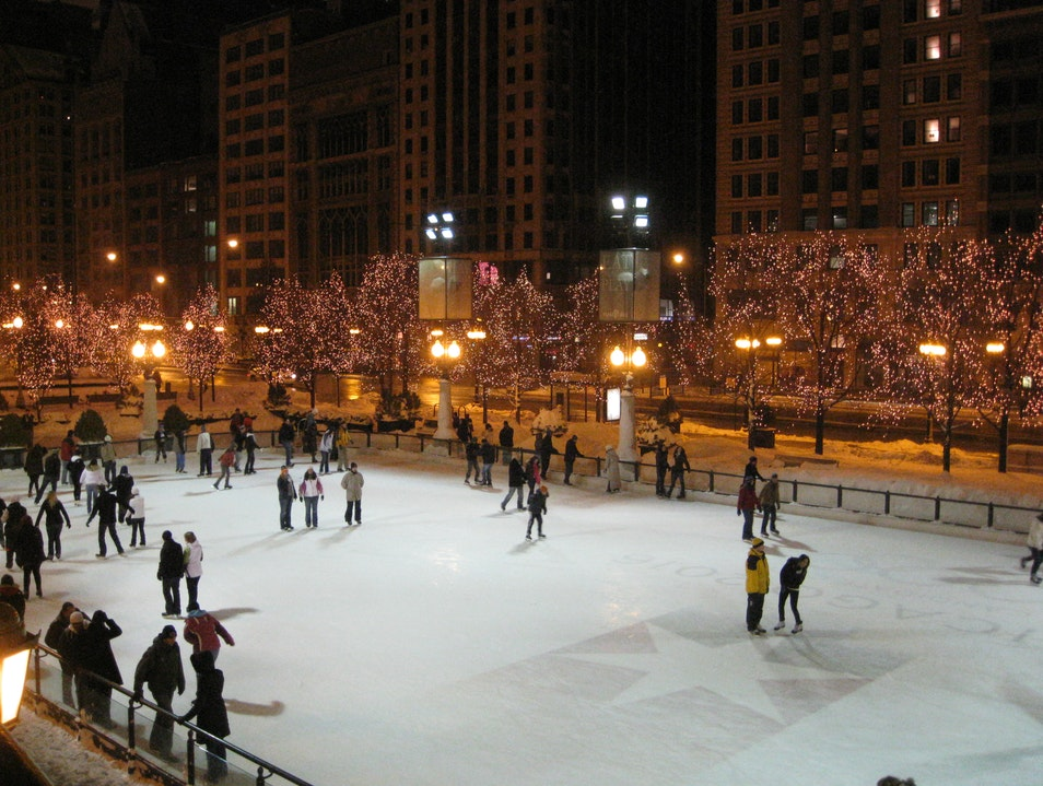 Ice Skating in the Park Chicago Illinois United States