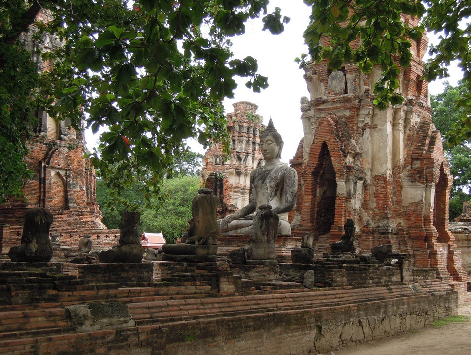 Riding through ruins in Ayutthaya, Thailand Mueang Pak  Thailand