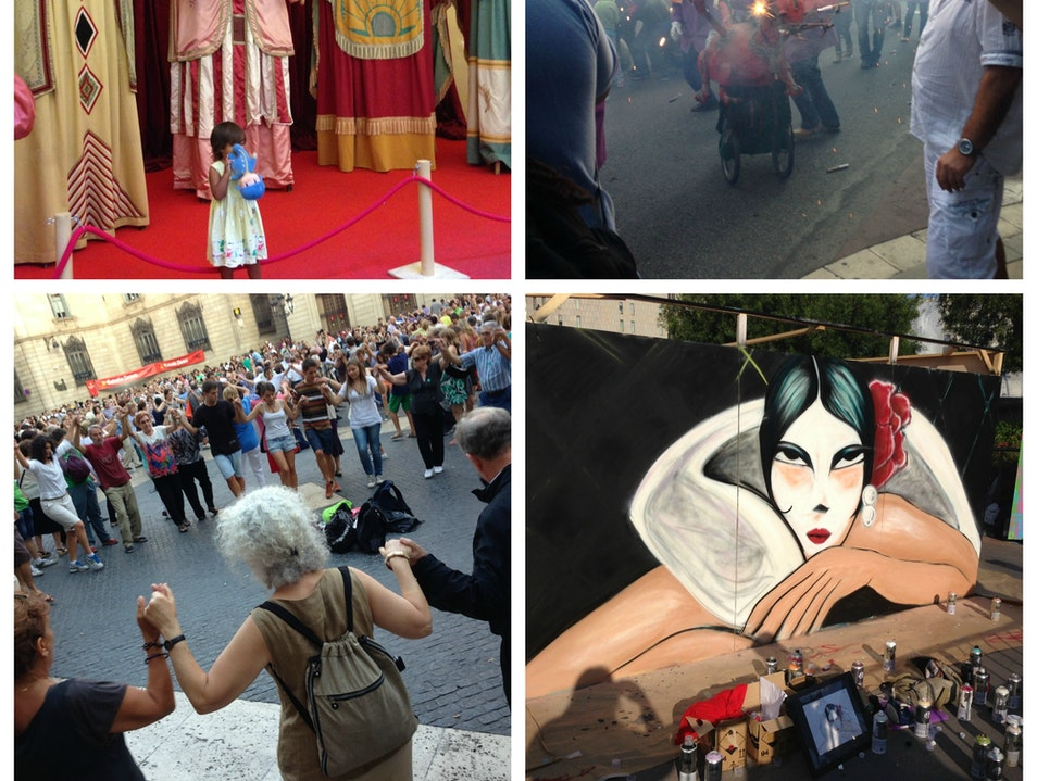 Celebrate Barcelona's city-wide festival with giants, dragons, and dancing