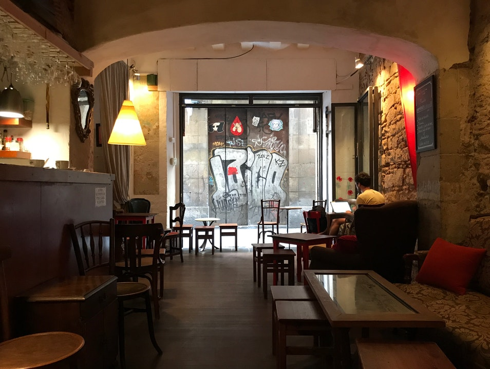 Relaxed Café in El Born Barcelona  Spain
