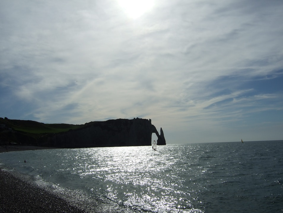 The Manneporte Arch and the Aiguille of the Falaise d'Aval Étretat  France