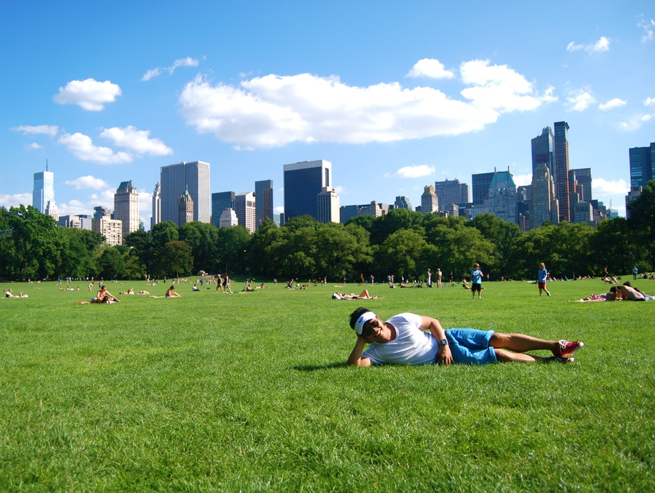 Posing at Central Park's Sheep Meadow New York New York United States