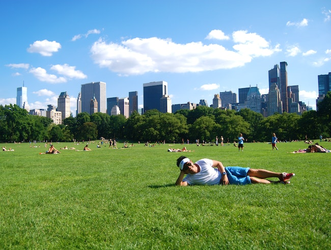 Posing at Central Park's Sheep Meadow
