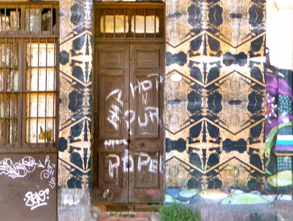 Door, wall or fence post—art space all Valparaiso  Chile
