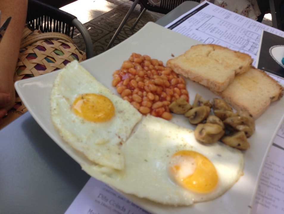 A gluten-free, vegetarian English breakfast Barcelona  Spain