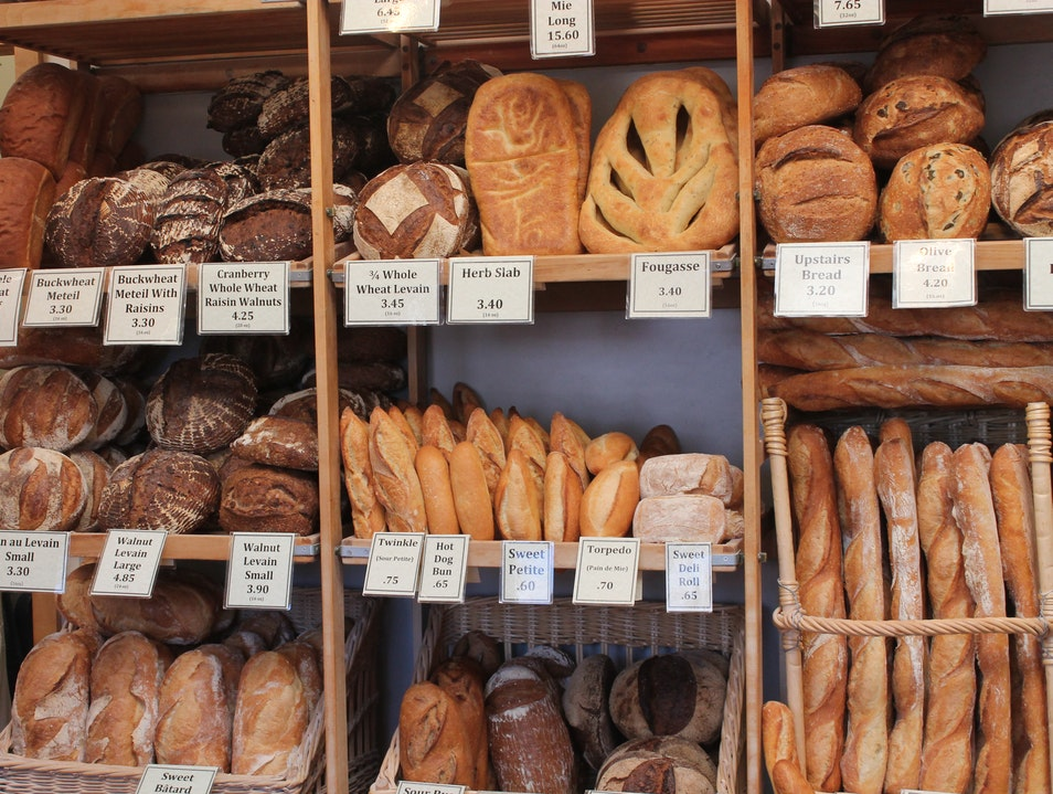 Rows of Wonderful Crusty Breads at Acme Bread Company