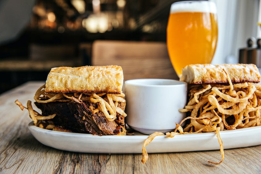 The French dip sandwich is a must-have at Purlieu.