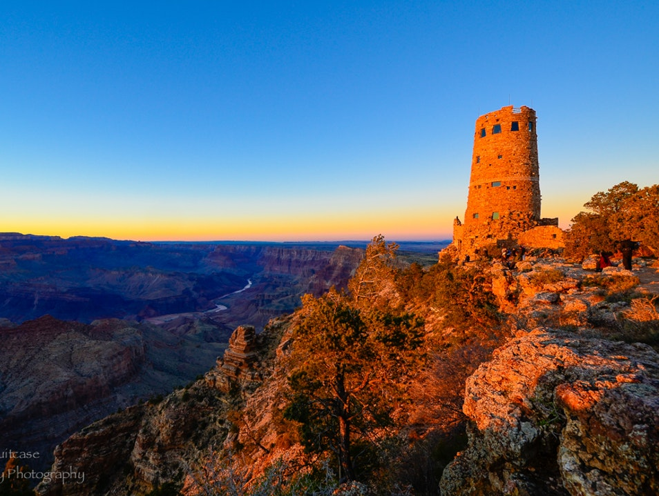 Sunset at Desert View Watchtower  North Rim Arizona United States