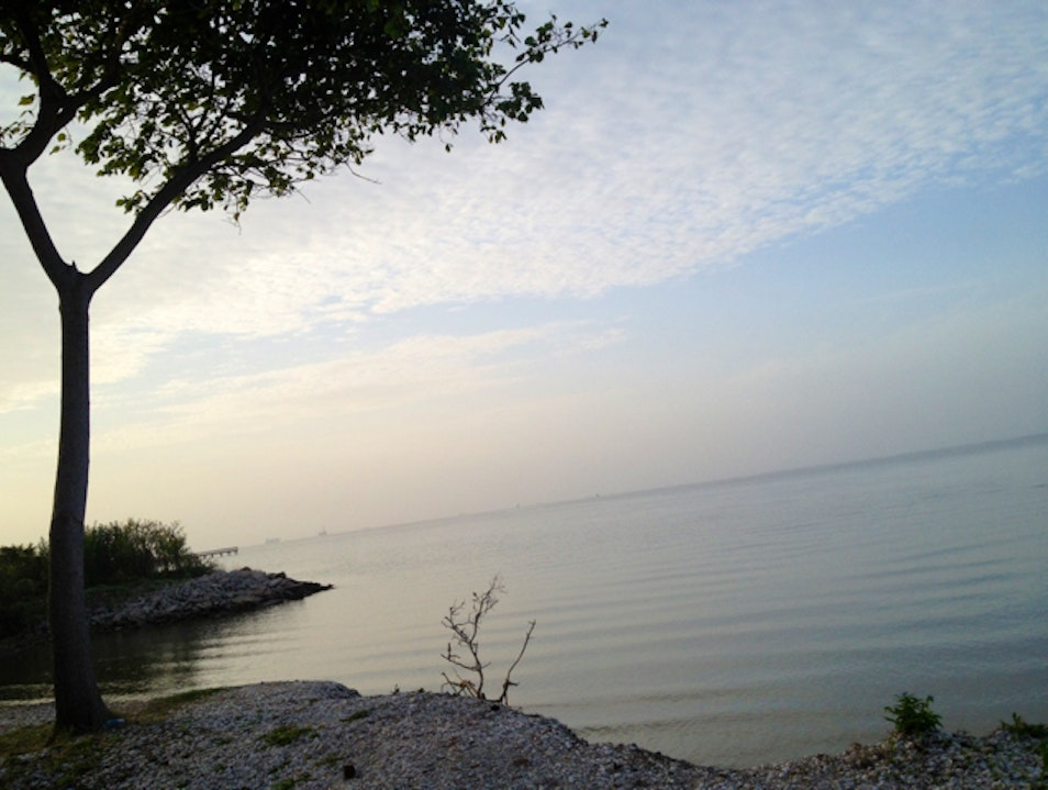 Galveston Bay at Pine Gulley park Seabrook Texas United States