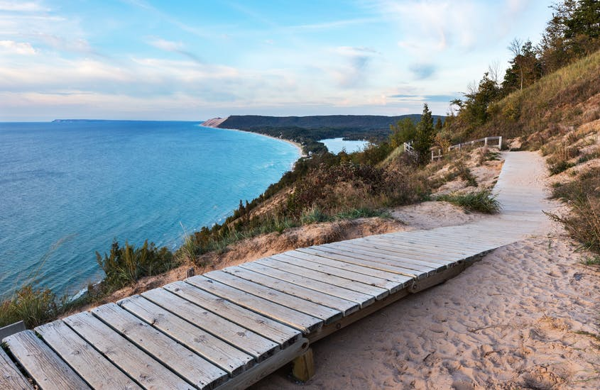 Sleeping Bear Dunes National Lakeshore is only 25 miles west of Traverse City, Michigan.