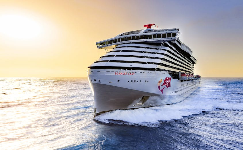"""With more than 2,700 passengers, the """"Scarlet Lady"""" is still big-ship cruising—with some twists."""