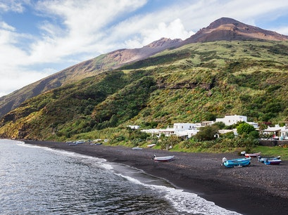 Black-Sand Beaches Stromboli  Italy