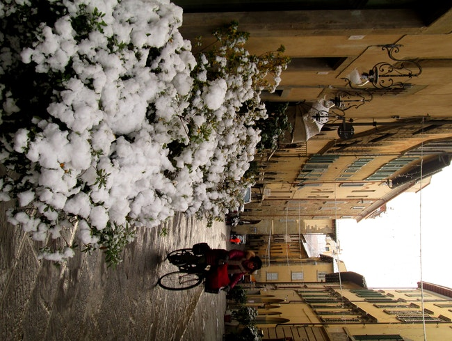 First snow in Arezzo, Italy 2013
