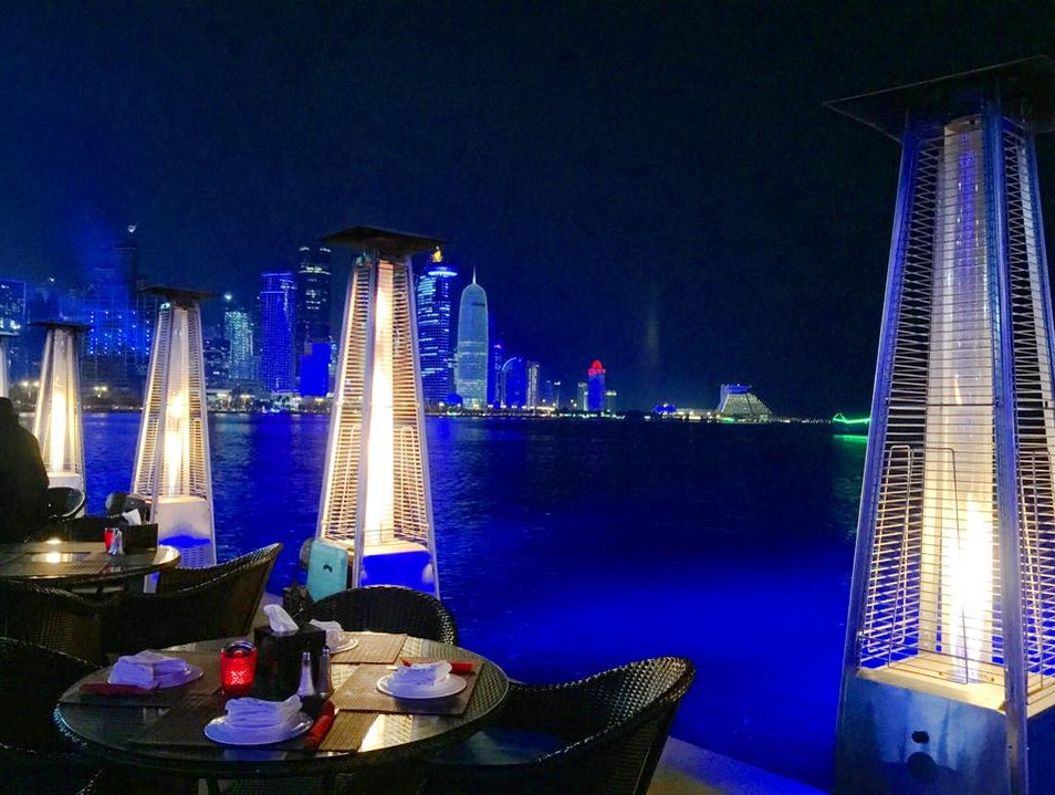 Lebanese food, toes dipped in the ocean, amazing view of the bay...bliss Doha  Qatar