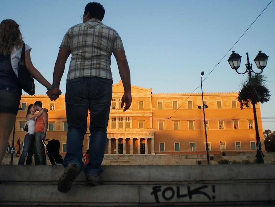 Lovers Meet in Syntagma Square