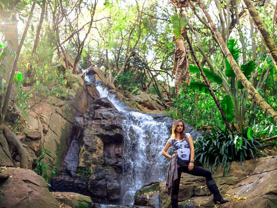 Striking a Pose at the Waterfall in the Gardens Pretoria  South Africa