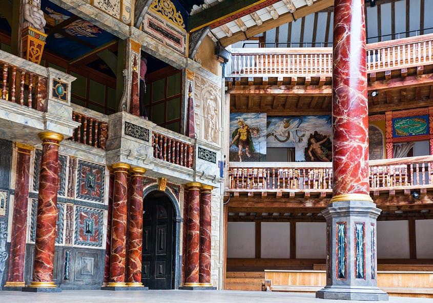 """The pillars supporting the stage roof (called the """"Pillars of Hercules"""") are handcarved from oak."""