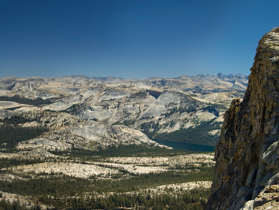 Looking way down from Mt. Hoffman in Yosemite backcountry Yosemite National Park California United States