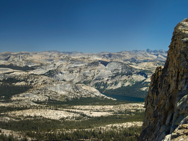 Looking way down from Mt. Hoffman in Yosemite backcountry