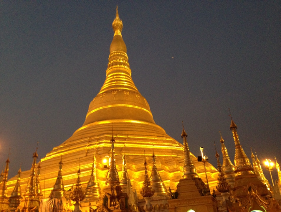 Sunset at Schwedagon Pagoda Yangon  Myanmar