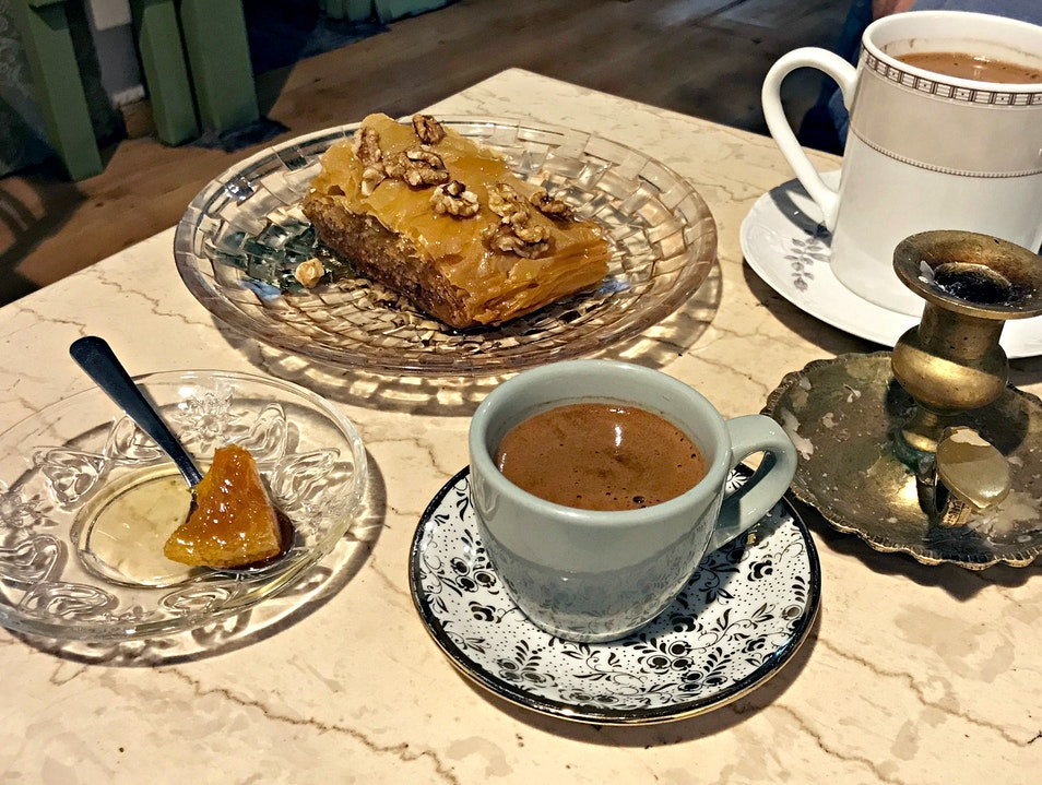 Cute Café with Sweet Sweet Baklava Athens  Greece