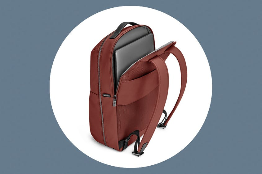 The Zip Backpack can fit laptops up to 15 inches and is available in Black, Brick, and Moss.