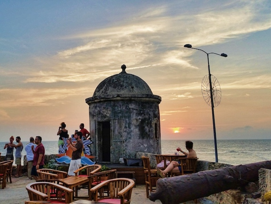 Have a sunset drink on a medieval wall Cartagena  Colombia